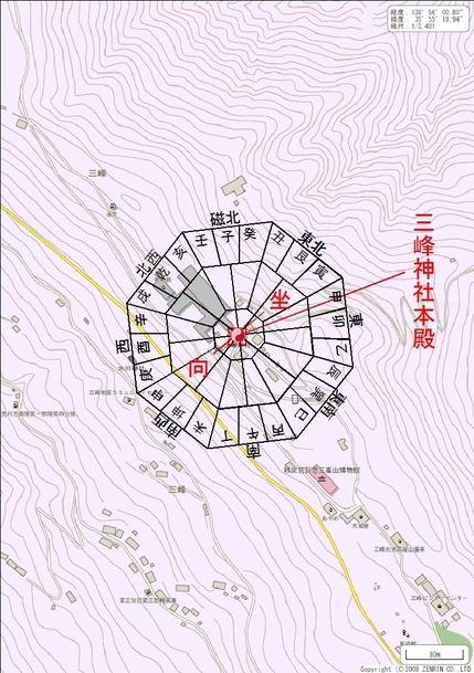 三峯神社坐向図