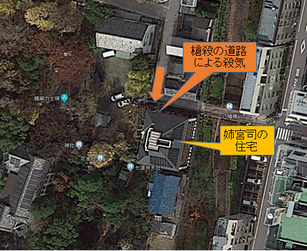 長子宮司宅の衛星画像