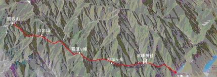 三峰神社来龍地勢図