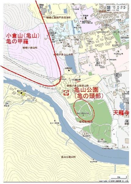 天龍寺周辺地理風水図