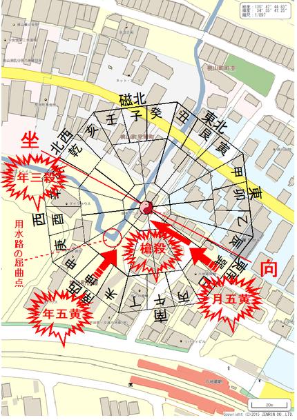 京都アニメーション第一スタジオ周辺風水図