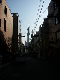 浅草公会堂横から臨むスカイツリー
