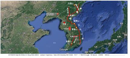 朝鮮半島 龍脈図