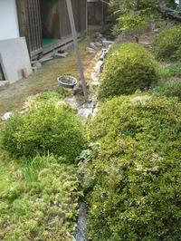 満水となった池から邸内水路への去水