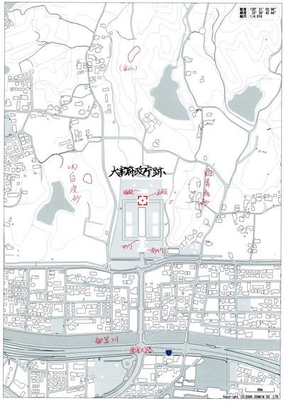 太宰府政庁跡 地理風水白地図