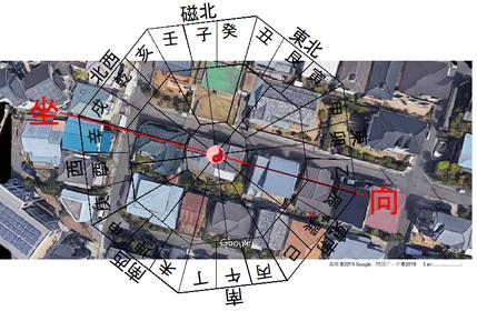 容疑者宅周辺風水方位衛星画像