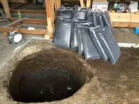 太極部に埋設する炭